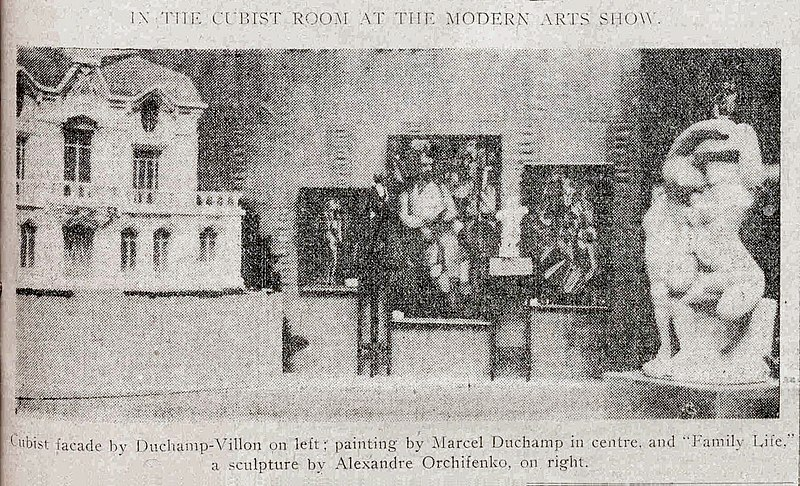 File:Armory Show, 1913, the Cubist room, Raymond Duchamp-Villon, Albert Gleizes, Marcel Duchamp, Alexander Archipenko, New York Tribune, 17 February 1913, p. 7.jpg