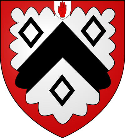 Coat of Arms of the Martin baronets of Long Melford (1667) with the badge of a Baronet of England. Arms of the Martin Baronets of Long Melford.png
