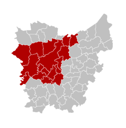 Location of the arrondissement in East-Flanders
