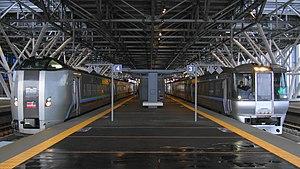 Asahikawa Station - 789 and 785 series EMUs at Asahikawa Station on Super Kamui services, October 2011