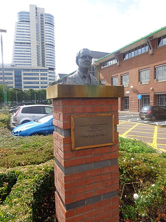 Asda - A bust of co-founder Peter Asquith outside Asda House in Leeds