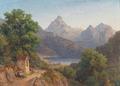 August Wilhelm Boesen - Bjerglandskab med vandringsmand som holder hvil.png