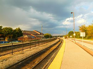 Aurora Transportation Center - The terminal tracks of the Aurora station in September 2016. The former Chicago, Burlington and Quincy Railroad roundhouse is on the left.