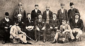 Harry Trott - The Australian team pictured during the summer of 1894–95. Harry Trott is at the far left of the middle row, and his younger brother Albert is seated at front, on the right.
