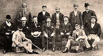 George Giffen - The Australian team during the summer of 1894–95. George Giffen, as captain, is centre in the middle row.