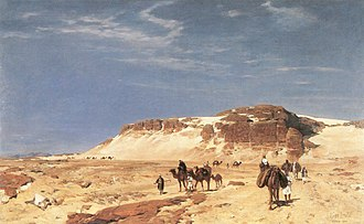 Biblical Mount Sinai - Out of the Sinai desert, painting by Eugen Bracht, c. 1880