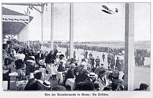Air show - A month after Blériot's crossing of the English Channel the aviation week in Reims, France, August 1909, caught special worldwide attention.