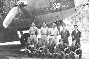 """63d Bombardment Squadron - Crew of Boeing B-17F Fortress 41-24521, """"Black Jack"""", 63d Bomb Squadron after flying their last mission on 14 February 1943 from Jackson Airfield, Papua New Guinea. The fixed machine gun in the lower nose was fitted in the field."""