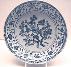 A Ming Dynasty blue-and-white porcelain dish.