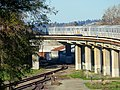 BART trains crossing Oakland Subdivision, January 2018.JPG