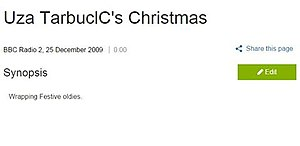 "BBC Genome Project - Screenshot of an OCR error (since corrected) in Genome. The text, ""Uza TarbuclC's Christmas"", should read ""Liza Tarbuck's Christmas""."