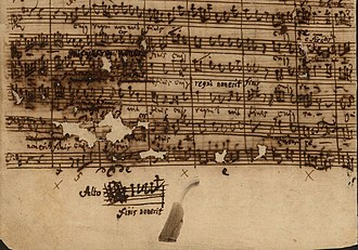 Mass in B minor structure - Et resurrexit, autograph, showing changes by Carl Philipp Emanuel Bach in measures 96ff