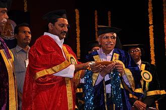Belle Monappa Hegde - B M Hegde being conferred an honorary doctorate by Kiran Kumar Reddy