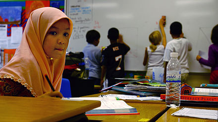 In Bahrain, Arabic is largely used in educational settings. Bahrain classroom.jpg