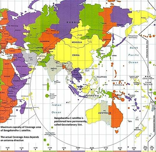 Bangabandhu Satellite-1 position and its coverage area