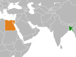 Map indicating locations of Bangladesh and Egypt