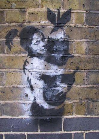 Bristol underground scene - A work by Bristol artist Banksy