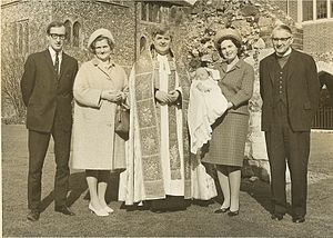 Tony Tremlett (bishop) - Bishop Tony Tremlett (extreme right) at the baptism of one of his 26 Godsons.