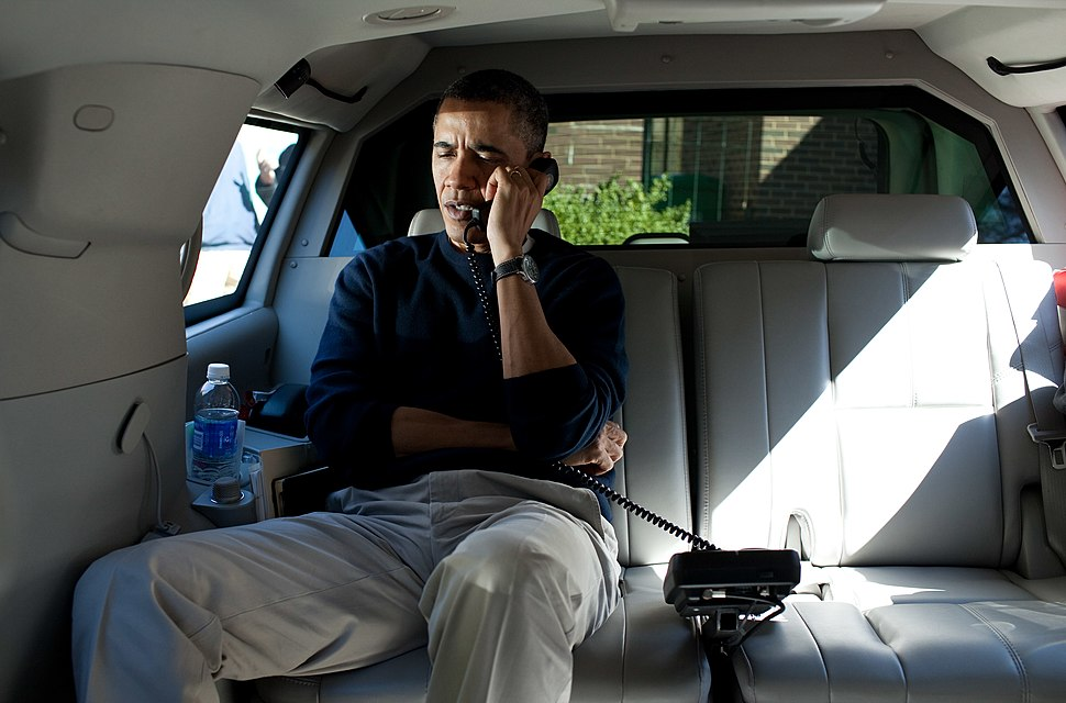 Barack Obama talks on the phone with Afghanistan President Hamid Karzai 11 March 2012