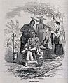 Barbers dressing hair in a clearing. Wood engraving. Wellcome V0019788.jpg