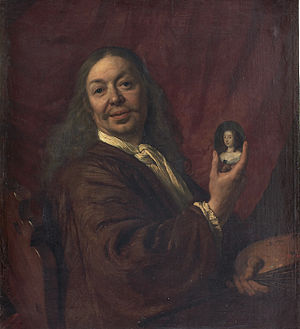 Bartholomeus van der Helst - Self-portrait with a miniature of Mary, Princess Royal, 1667