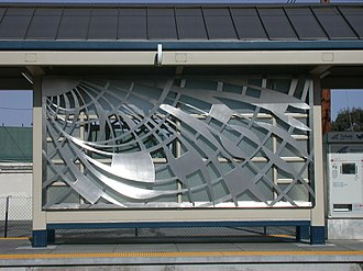 Bascom station - Metal screens that adorn the shelter of the Bascom VTA light rail station.