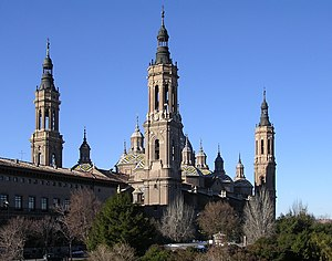 Architecture of cathedrals and great churches -  The Basilica of Our Lady of the Pillar, Zaragoza, Spain, is in the Baroque style.