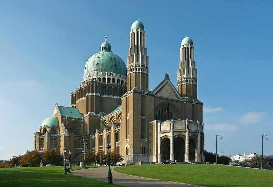 Basilica of the Sacred Heart, Belgium, with da Vinci expo banners.