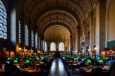 Bates Hall, the main reading room of the Boston Public Library, Boston, Massachusetts, United States Bates Hall - Boston Public Library.jpg