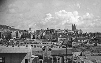 Bath Blitz - View of the centre of Bath in 1958, still with signs of war damage.