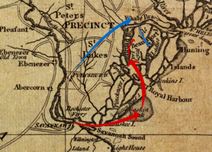 Battle of Beaufort - A 1779 map of the area, annotated to show how forces reached Port Royal Island.  British movements are shown in red, American movements in blue.