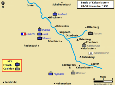 Map shows the Battle of Kaiserslautern on 28–30 November 1793.