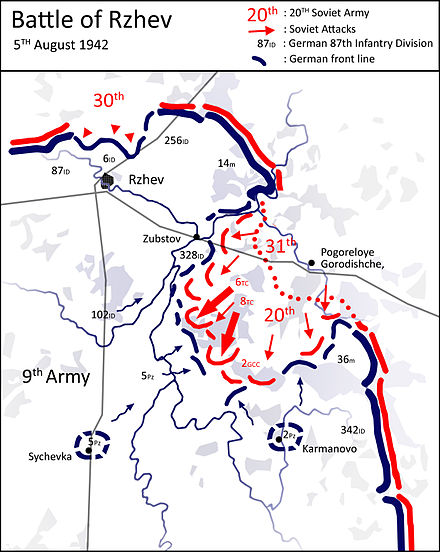 First_Rzhev-Sychyovka Offensive Operation, Soviet Western Front continues its attack against Army Group Center Battle of Rzhev - 5 August 1942 - Western Front continues attack.jpg