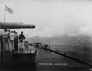 Bombardment of San Juan - USS Iowa, firing her guns.