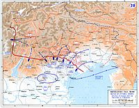 Map of the Battle of Vittorio Veneto, in which the Italian Army decisively beat the invading Austro-Hungarian army