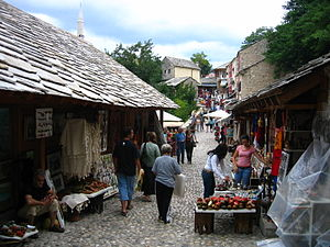 Bazar at Old Bridge in Mostar, Herzegovina