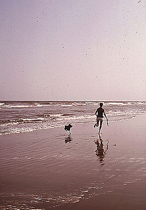 Grand Isle, Louisiana - Enjoying the Grand Isle beach, 1972