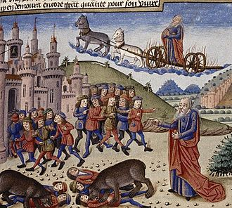 Elisha -  The bears savaging the youths at Elisha's command, while Elijah is borne in the flying chariot (1453 French manuscript).