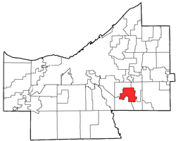 Location of Bedford in Cuyahoga County