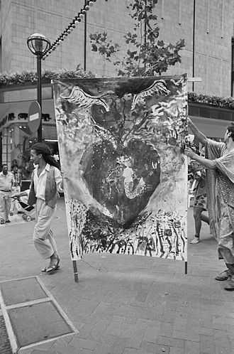 Rainbow Nation Peace Ritual - Beezy Bailey banner at the Rainbow Nation Peace Ritual, St George's Mall, Cape Town, February 3, 1990