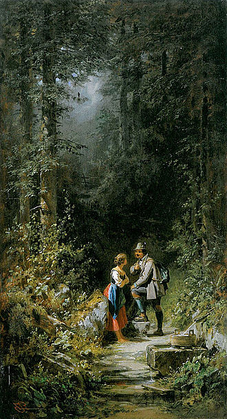 Carl Spitzweg - Begegnung im Walde, A Woodland Meeting, c. 1860
