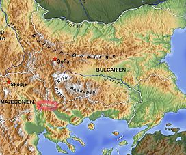 Location of Belasica (circled in red)