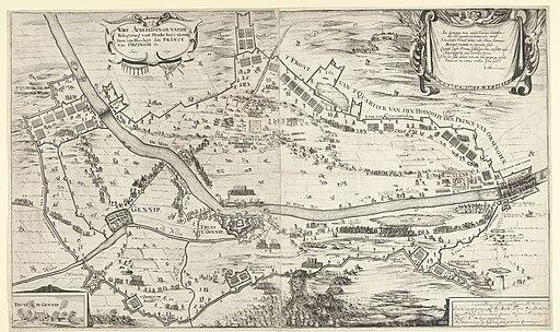 Beleg van Huis te Gennep, 1641 Ware Afbeeldinge vande Belegering vant Stercke huys Gennip Door sijn Hoocheyt den Prince Van Oraingie Etc. Anno 1641 (titel op object), RP-P-BI-1051