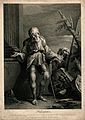 Belisarius as an old man, with a stick, leans against a colu Wellcome V0039991.jpg