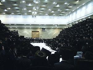 Tish (Hasidic celebration) - Belzer tish. Purim 5766 (2006).