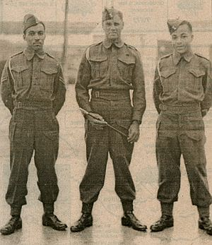 St David's Battery - Bermuda Militia Artillery warrant officer and NCOs at the St. David's Battery, ca. 1944. Left-to-right: Bdr. A. Caisey, Sgt. Maj. R.C. Smith, and Bdr. C.E. Esdaille.