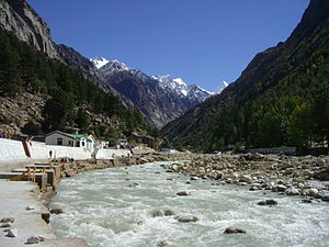 Sacred bathing ghats on Bhagirathi River at Gangotri