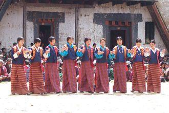 Kira (Bhutan) - Bhutanese girls wearing kira and toego