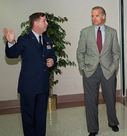 Biden receiving a 1997 tour of a new facility at Delaware's Dover Air Force Base BidenDoverAFB1997.jpg
