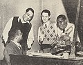 Billy Strayhorn, Duke Ellington, Leonard Feather, and Louis Armstrong, 1946.jpg